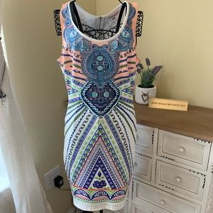 Sleeveless Blue & Peach Body Dress